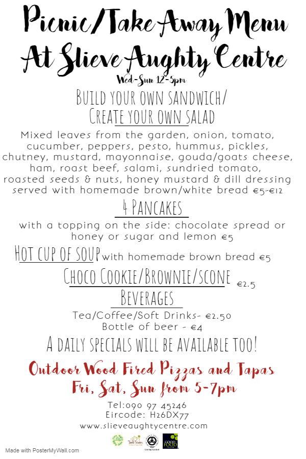 organic cafe menu at The Three Towers